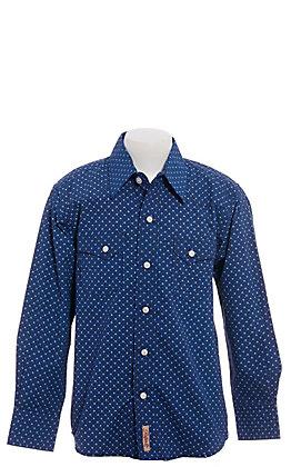Rafter C Boys' Navy Geo Print Long Sleeve Western Shirt