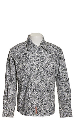Rafter C Boys' White with Navy & Grey Paisley Print Long Sleeve Western Shirt