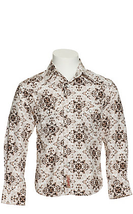 Rafter C Boy's White and Brown Medallion Print Long Sleeve Western Shirt