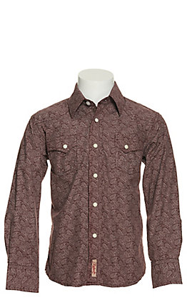 Rafter C Boy's Burgundy with Paisley Print Long Sleeve Western Shirt