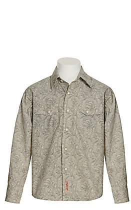 Rafter C Boy's Cream with Brown Paisley Print Long Sleeve Western Shirt