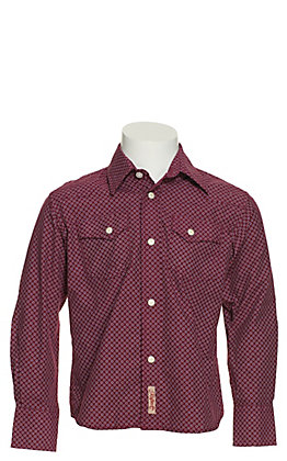 Rafter C Boy's Burgundy Geo Print Long Sleeve Western Shirt