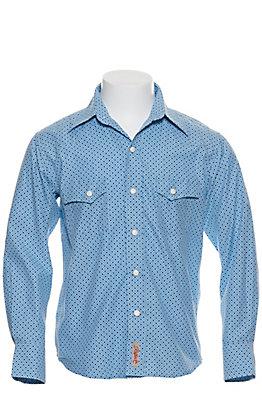 Rafter C Boy's Light Blue with Blue Geo Print Long Sleeve Western Shirt