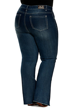 Rockin C Women's Dark Wash Raw Hem Trouser Jeans - Plus Sizes