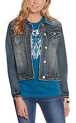 Rockin' C Women's Medium Wash with Frayed Edges Denim Jacket