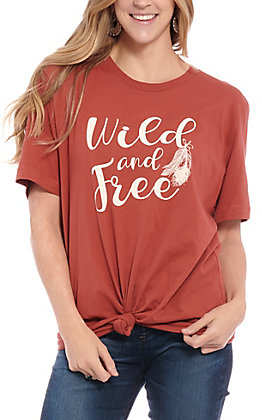 Rockin' C Women's Rust Wild and Free Short Sleeve T-Shirt