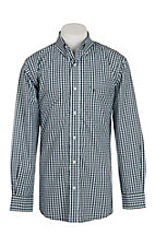 Rafter C Cowboy Collection Men's Chocolate and Blue Plaid L/S Western Shirt