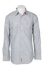 Rafter C Cowboy Collection Men's Light Grey Chambray L/S Western Snap Shirt - Big and Tall