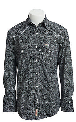 Rafter C ProFlex Stretch Men's Black With Grey Paisley Print Long Sleeve Western Shirt - Big & Tall