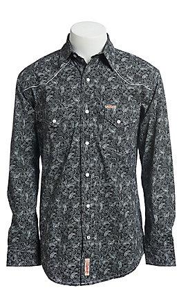 Rafter C ProFlex Stretch Men's Black With Grey Paisley Print Long Sleeve Western Shirt - Big & Tall