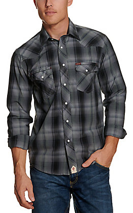 Rafter C Red Dirt Collection Men's Grey Plaid Wash and Go Long Sleeve Western Shirt