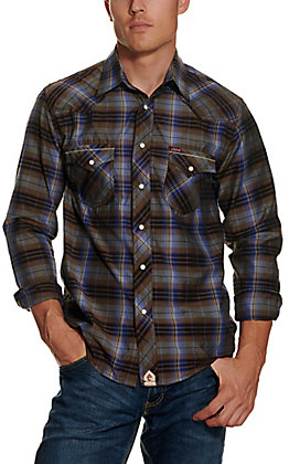 Rafter C Red Dirt Collection Men's Brown and Blue Plaid Wash and Go Long Sleeve Western Shirt