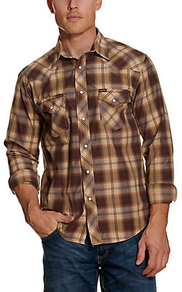 Rafter C Red Dirt Collection Men's Khaki Plaid Wash and Go Long Sleeve Western Shirt