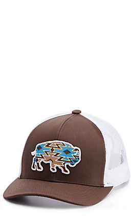 Red Dirt Hat Co. Brown And White Aztec Buffalo Patch Cap