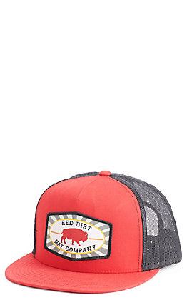 Red Dirt Hat Co. Red And Black Buffalo Patch Cap