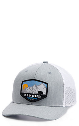 Red Dirt Hat Co. Grey & White Mountain Sunrise Patch Cap