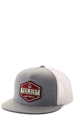 Red Dirt Hat Co. Grey and White Arrowhead Logo Patch Mesh Back Cap