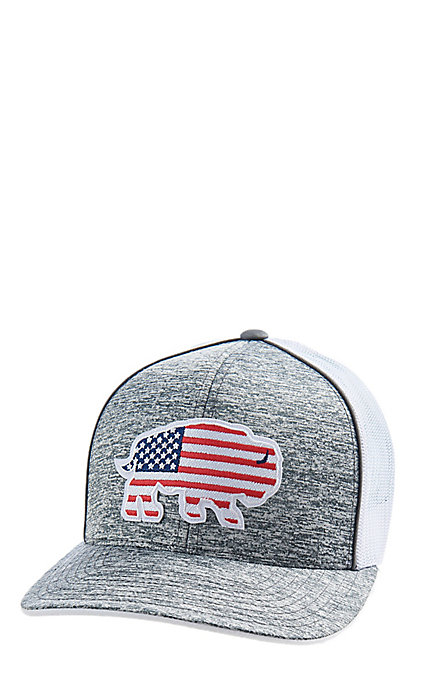 a2790b6c7 Red Dirt Hat Co. American Flag Buffalo Grey and White Cap