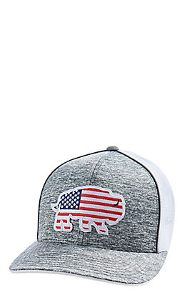 Red Dirt Hat Co. American Flag Buffalo Grey and White Cap