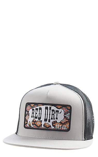 b250b532146 Red Dirt Hat Co. Aztec Buffalo Silver Black Cap