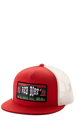 Red Dirt Hat Co. Red and White Serape Buffalo Patch Mesh Back Cap