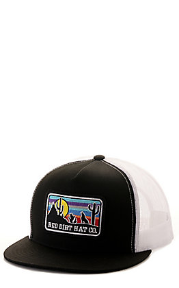 Red Dirt Hat Co. Black and White Sunset Coyote Patch Mesh Back Cap