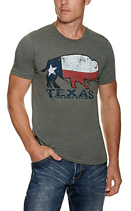 Red Dirt Hat Company Heather Grey with Texas Flag Buffalo Graphic T-Shirt