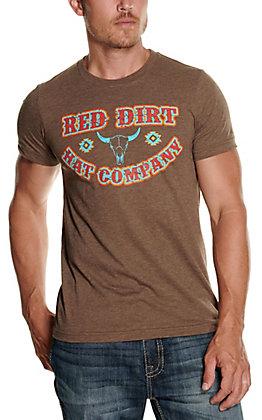 Red Dirt Hat Co. Men's Brown Buffalo Skull Logo Graphic Short Sleeve T-Shirt