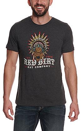 Red Dirt Hat Company Men's Charcoal Grey Buffalo Headdress Logo Short Sleeve Tee