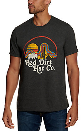 Red Dirt Hat Co. Men's Heather Grey Neon Buffalo Logo Graphic Short Sleeve T-Shirt