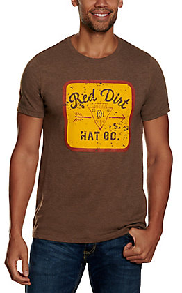 Red Dirt Hat Co. Men's Heather Brown Mineral Water Arrowhead Logo Graphic Short Sleeve T-Shirt