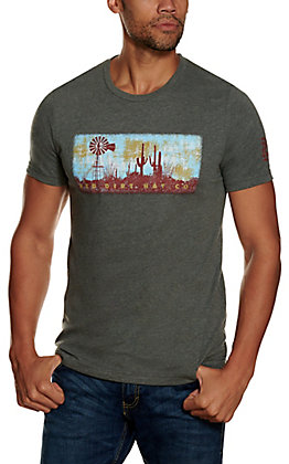 Red Dirt Hat Co. Men's Heather Grey Vintage Windmill Logo Graphic Short Sleeve T-Shirt