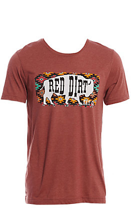 Red Dirt Hat Co. Men's Rust Aztec Buffalo Graphic T-Shirt