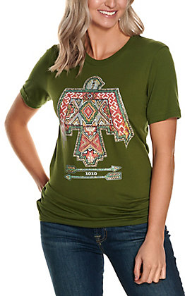 XOXO Art Co. Women's Olive Red Aztec Thunderbird Graphic Short Sleeve T-Shirt