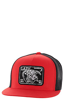Lazy J Ranchwear Men's Red and Black Elevation Patch Snapback Cap