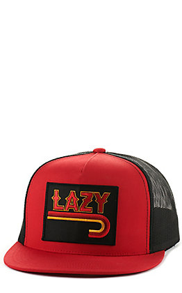 Lazy J Ranch Wear Red and Black with Fire Logo Patch Snapback Cap