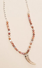 Laminin Redhill Peter Wood Agate Bead with a Silver Chain Necklace