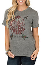 XOXO Art & Co. Women's Dark Heather Grey Red Indian T-Shirt