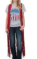 Crazy Train Women's Red Studded Fringe Vest