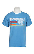 Lazy J Ranchwear Blue w/ Multicolored Retro Ranch Graphic T-Shirt