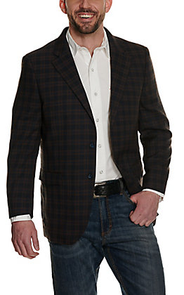 Red Sky Men's Navy and Brown Plaid Two Button Sport Coat