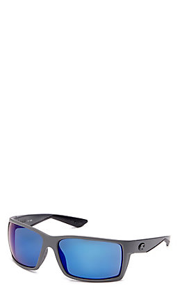 Costa Reefton Blue Mirror Matte Grey Sunglasses