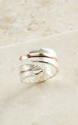Montana Silversmiths Women's Rose Gold Filament Feather Ring - Size 8