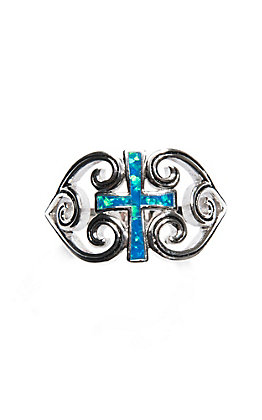 Montana Silversmiths River of Lights Filigree Water Lights Cross Ring - Size 8