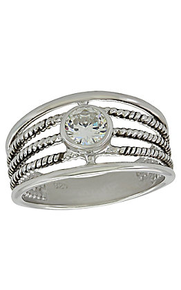 Montana Silversmith Triple Rope Solitaire Ring - Size 8