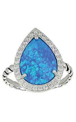 Montana Silversmiths Women's Cubic Zirconium Teardrop Opal Halo Ring - Size 7
