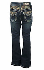 Grace in LA Girl's Dark Wash with Camo Accents Flap Pocket Boot Cut Jeans