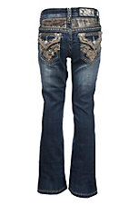 Grace in LA Girl's Dark Wash with Camo Back Yoke and Pocket Embroidery Western Boot Cut Jeans