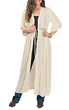 Elan Women's Natural Crochet Long Kimono