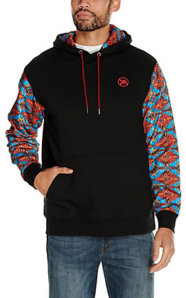 HOOey Men's Arizona Black with Aztec Sleeves Hooded Sweatshirt